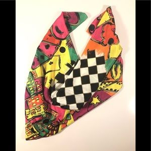 Vintage Abstract Print Square Scarf
